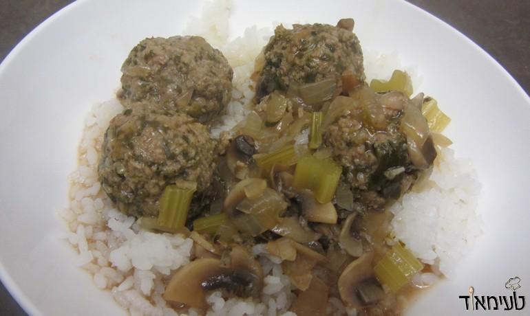 כדורי בשר עם תרד ברוטב פטריות ולימון